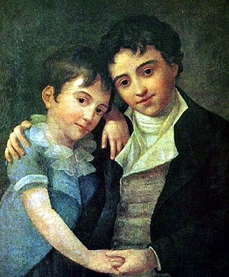 Franz Xaver Wolfgang Mozart - The two surviving sons of Wolfgang Amadeus and Constanze Mozart: Franz Xaver Wolfgang Mozart (left) and Karl Thomas (right); painting by Hans Hansen, Vienna, 1800