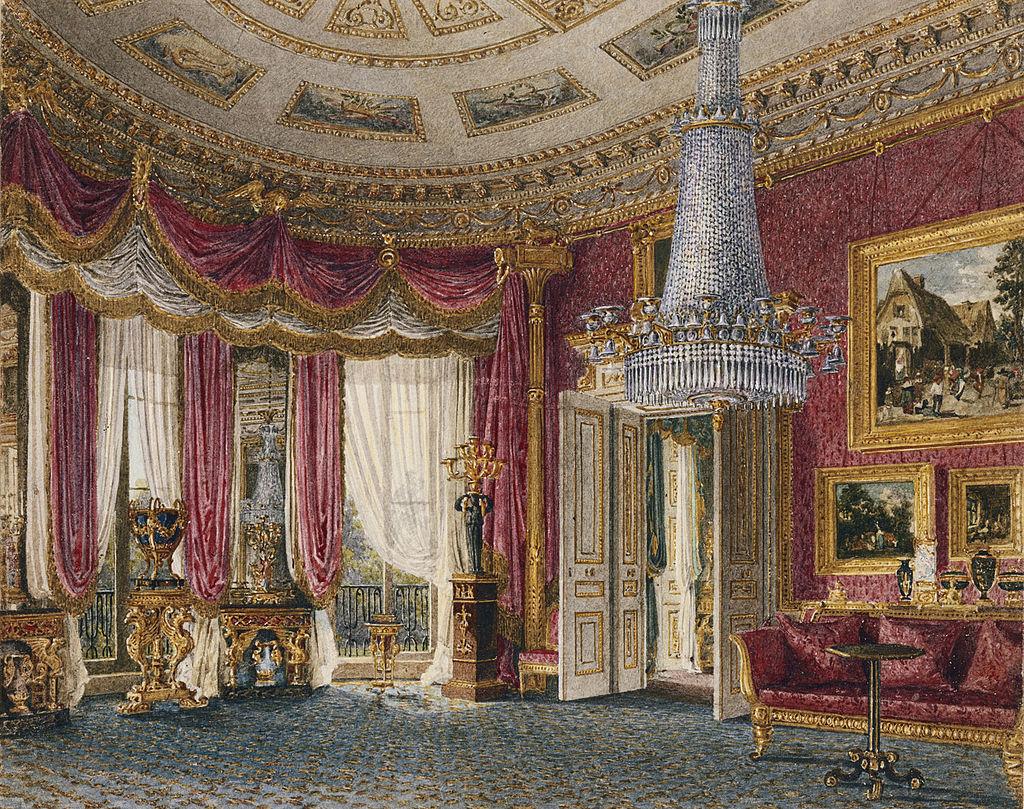Карлтон - Хаус, Розовая Атласная гостиная с видом на Запад, Чарльз Уайлд, 1818- royal coll 922181 313733 ORI 2.jpg