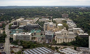 Carnegie Mellon University - The main campus in Pittsburgh as seen from the 36th floor of the Cathedral of Learning.