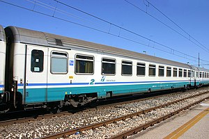 "Travel class - Italian passenger carriage, showing a ""2"" denoting Second Class."