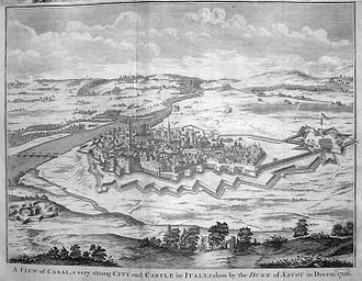 Casale Monferrato - The fortified town from an engraving of 1745. On the left the river Po, and to the right the star-shaped cittadella