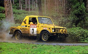 Indian National Rally Championship - Hari Singh in a Team JK Tyres Maruti Gypsy in the 1993 Castrol South India Rally in Kodaikanal stages.))