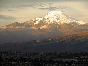 Cayambe volcano from Quito.jpg
