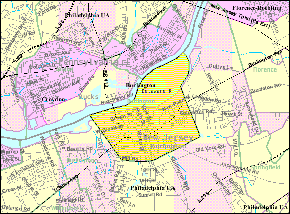 Census Bureau map of Burlington, New Jersey