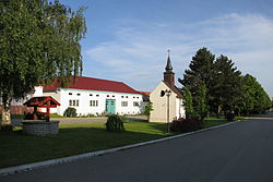Center of Lovčovice with chapel, Třebíč District.JPG