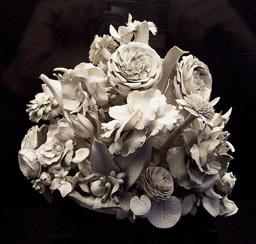 A beautiful centrepiece of porcelain flowers