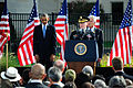 Chairman of the Joint Chiefs of Staff U.S. Army Gen. Martin E. Dempsey, at lectern, delivers remarks as President Barack Obama, left, and Secretary of Defense Chuck Hagel stand by during a 9-11 commemoration 140911-A-VS818-176.jpg