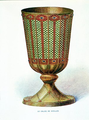 Chelles Abbey - The Chelles chalice, lost at the time of the French Revolution, said to have been made by Saint Eligius