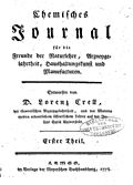 由克雷尔(英语:Lorenz Florenz Friedrich von Crell)於1778年創辦的世上第一份化学专业期刊封面[10]