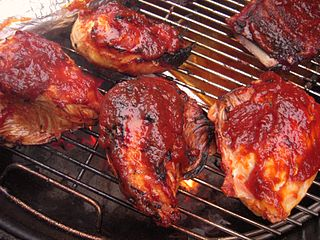 Barbecue chicken chicken that is barbecued, grilled, or smoked