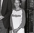 Child wearing Marlboro shirt at Boston City Hall in 1980s (9504744104) 2.jpg