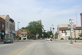 Looking east in downtown Chilton on U.S. Route 151
