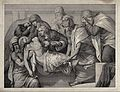 Christ is laid into a tomb. Lithograph by M. Fanoli after E. Wellcome V0034807.jpg