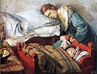Christian Krohg-Sovende mor med barn 1883.jpg