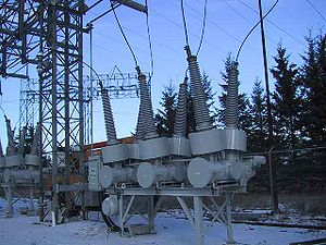 Sulfur hexafluoride circuit breaker -  An SF6 circuit breaker rated 115 kV, 1200 A installed at a hydroelectric generating station