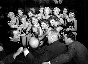 Charles Bennett (actor) - Charles Bennett (with straw hat and striped suit) leading the chorus girls in Orson Welles's Citizen Kane (1941)