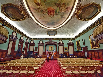 The New York City Council chambers, where de Blasio served from 2002 to 2009. CityCouncilChambersAT.jpg