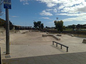 City Sk8 Park, Adelaide - The skate park from the South-Eastern corner.