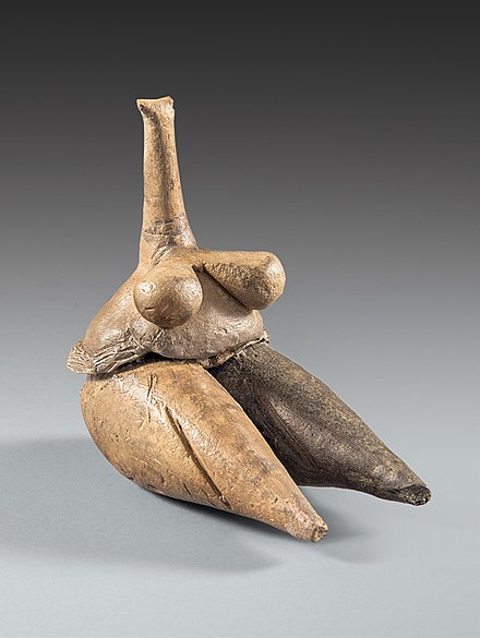 Clay human figurine (Fertility goddess) Tappeh Sarab, Kermanshah ca. 7000–6100 BC, Neolithic period, National Museum of Iran Clay human figurine (Fertility goddess) Tappeh Sarab, Kermanshah ca. 7000-6100 BCE Neolithic period, National Museum of Iran.jpg