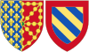 Coat of Arms of Margaret of Burgundy as Queen Consort of Navarre.svg