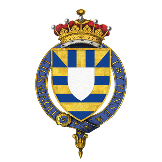 Roger Mortimer, 2nd Earl of March - Arms of Sir Roger Mortimer, 2nd Earl of March, KG -- Barry or and azure, on a chief of the first two pallets between two base esquires of the second over all an inescutcheon argent