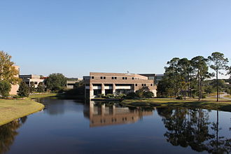 Coggin College of Business -  View of the college from the Student Union Boathouse.