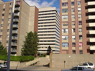 Cogswell Tower - Cogswell Tower between two apartment buildings