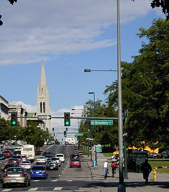 "Colfax Avenue at Broadway, where the downtown street grid and the ""normal"" city grid meet. Colfax Avenue carries U.S. Highway 40 through Denver. Colfaxatbroadway.JPG"