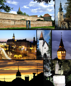 Tap left: Medieval Fortress an Touer o Reformed Kirk, Tap richt: Bob Kirk, Middle left: Twilight in inner ceety, Center: Reformed Kirk in Szabadi Street, Middle richt: Touer o Ceety Hall, Bottom left: Dome o the Synagogue, Bottom richt: Statue o Bolyai Farkas an János in Bolyai Squerr