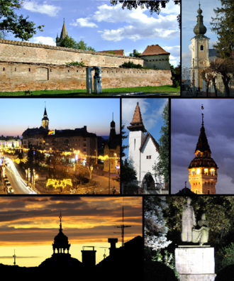 Târgu Mureș - Top left: Medieval Fortress and Tower of the Reformed Church, Top right: Bob Church, Middle left: Twilight in inner city, Center: The Reformed Church in Szabadi Street, Middle right: Tower of City Hall, Bottom left: Dome of the Synagogue, Bottom right: Statue of Bolyai Farkas and János in Bolyai Square