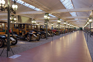 Cité de l'Automobile - A view of the refurbished main-hall, with its Pont Alexandre III lamp posts