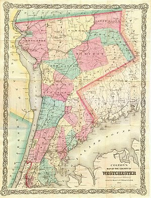 History of Westchester County - 1867 map of Westchester County