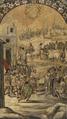 Conquista de México (Tabla 4) - Entra Hernán Cortés de Zempoala y es recibido por el Cacique Gordo, Miguel y Juan Gonzales (1698).png