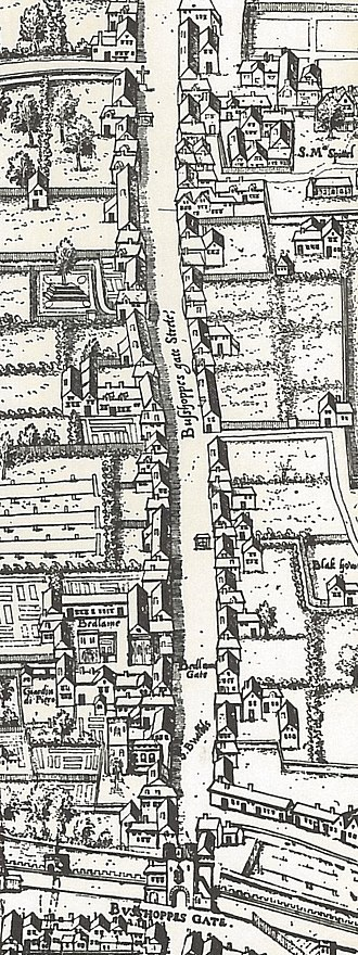 Bishopsgate - Image: Copperplate map Bishopsgate