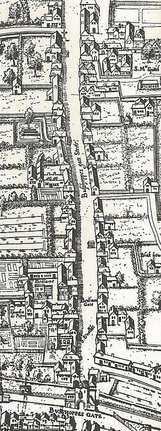 Bishopsgate - Image: Copperplate map Bishopsgate