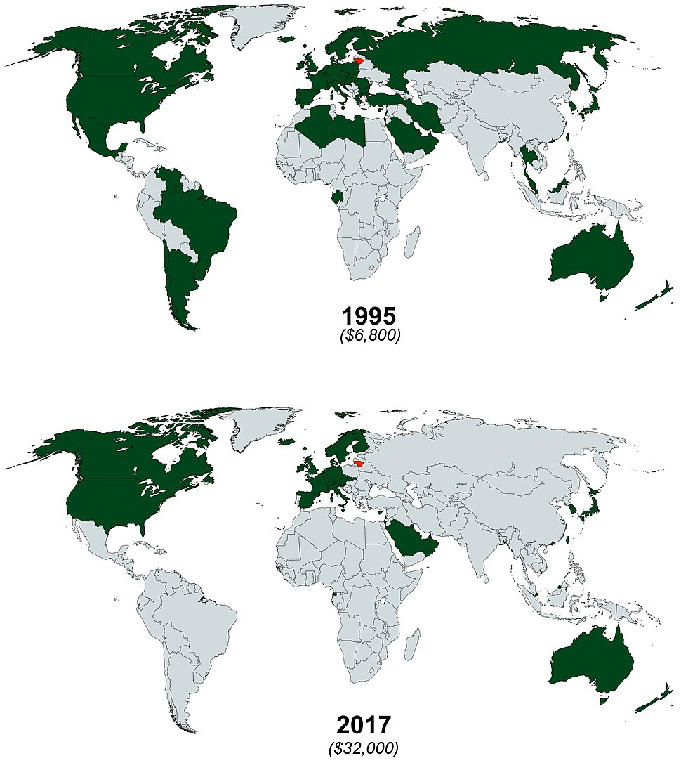 Countries with larger GDP PPP per capita than Lithuania in 1995 vs 2017