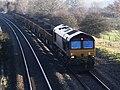Creech St Michael - DB Cargo 66014 spoil wagons for Penzance.JPG