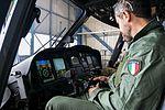 Crew operating IR camera in cockpit of Aeronautica Militare HH139 (27450396282).jpg