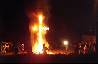 Cross burning - Ku Klux Klan members at a cross burning in 2005