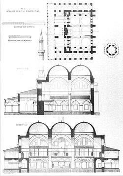 Cross sections and plan of the Piyale Pasha Mosque in Istanbul by Gurlitt 1912.jpg