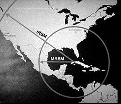 77efbf185f2ecc Zasięg radzieckich pocisków balistycznych IRBM oraz MRBM w razie  wystrzelenia z Kuby.