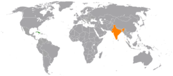 Map indicating locations of Cuba and India