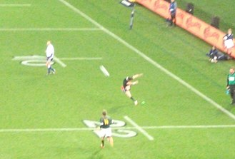 Dan Carter - Dan Carter attempting a conversion during the All Blacks V Springboks game at Eden Park in 2013