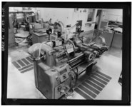 DETAILED VIEW OF A LATHE. LATHES WERE USED TO FORM THE FINAL SHAPE OF THE FIRST TRIGGER DESIGN. (4-4-66) - Rocky Flats Plant, General Manufacturing, Support, Records-Central HAER COLO,30-GOLD.V,1Q-10.tif