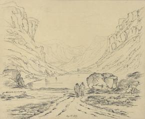 View of lake and mountains near Cadair idris