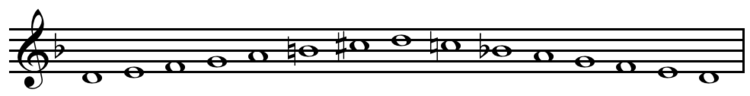 D melodic minor scale ascending and descending.png