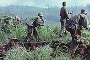 Dak To, South Vietnam. An infantry patrol moves up to assault the last Viet Cong position after an attempted overrun of the artillery position by the Viet Cong during Operation Hawthorne.