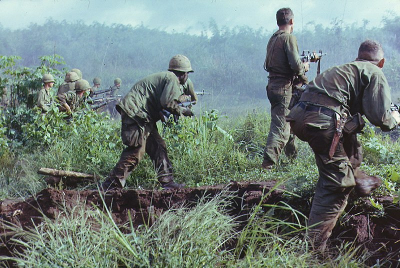 In Dak To, South Vietnam, an infantry unit moves to assault the last Viet Cong position.