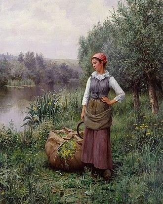 Daniel Ridgway Knight - Image: Daniel Ridgway Knight Girl by a Stream, Flanders