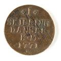 Danskt kopparmynt, 1 skilling. 1771 - Skoklosters slott - 109674.tif